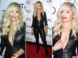 Rita Ora Stuns Las Vegas in a Cleavage-Baring Leather Catsuit