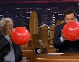 Morgan Freeman Inhales Helium with Jimmy Fallon